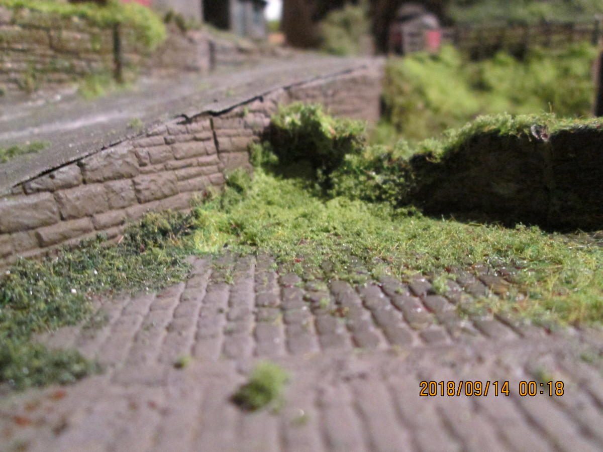 There's that broken stone wall, overgrown of course, with a variety of grass scatter