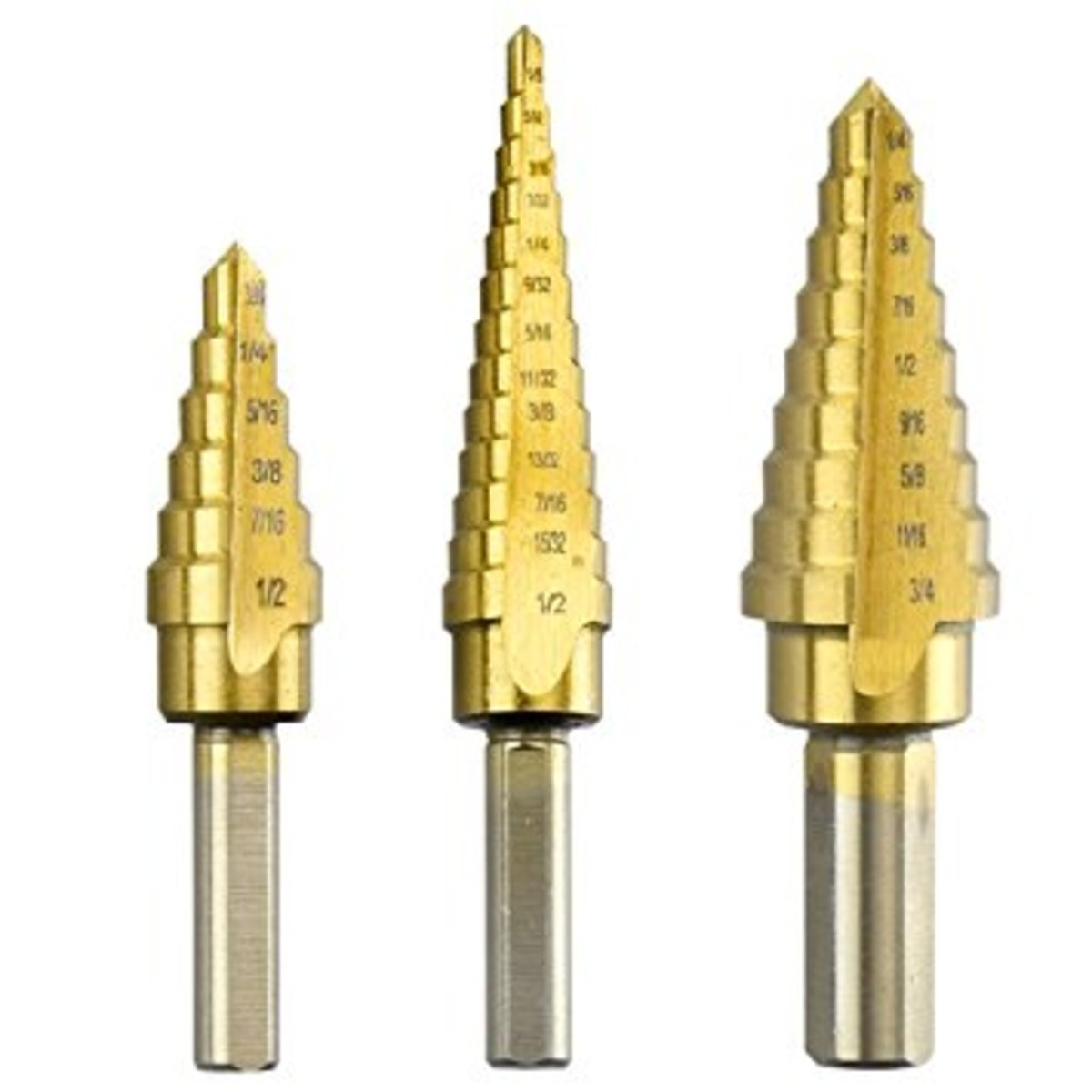 Set of step drill bits of various sizes and configurations