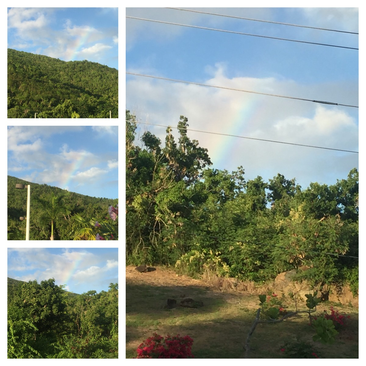September 23, 2018 @ 5:37pm. Driving going west side on Brewers Beach stretch. Rainbow and north east. Over the UVI Library. Reichold Center. Captured Rainbow and uvi landscape. Beautiful