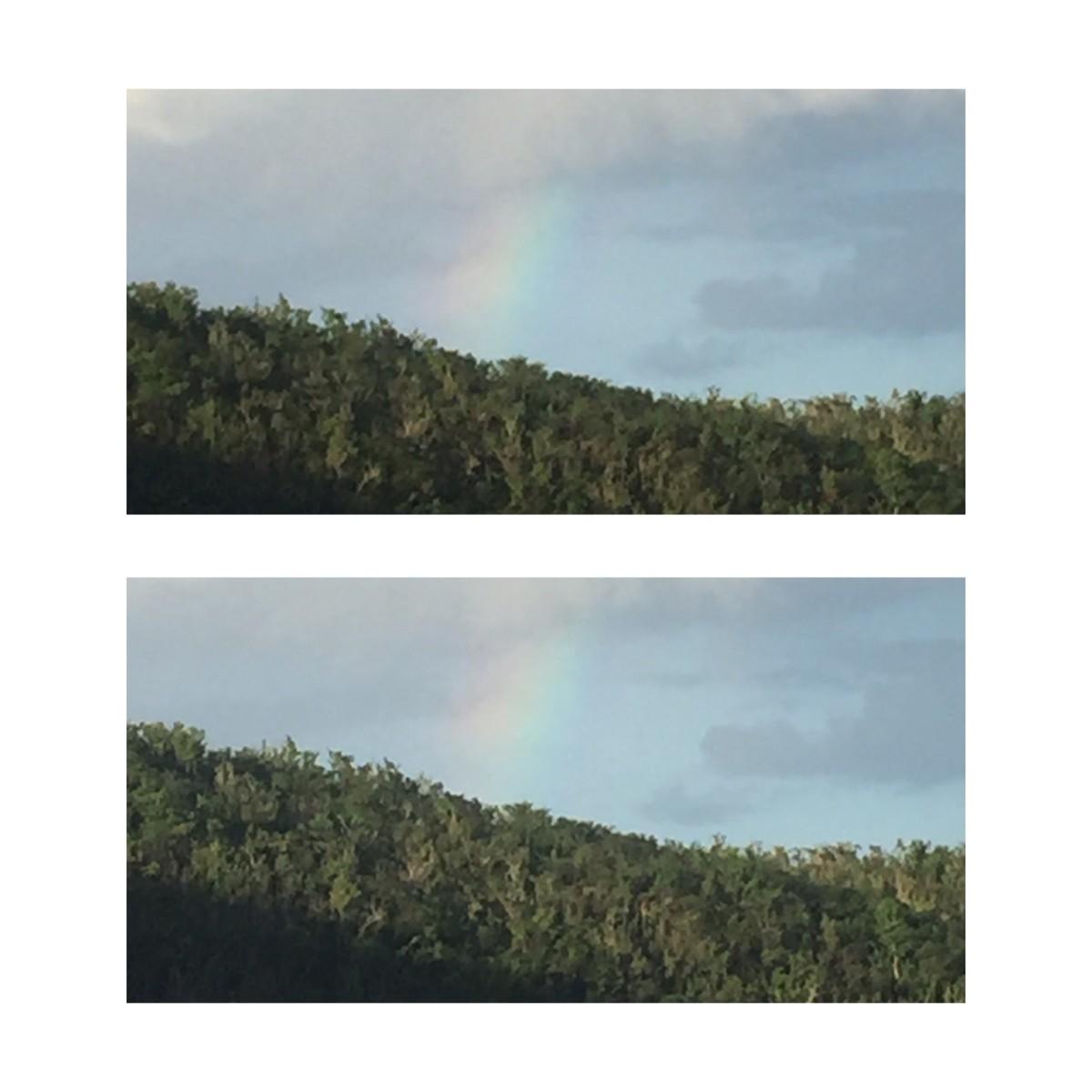 November 6, 2017 captured this rainbow sneaking around the mountain top. Got it, nice!