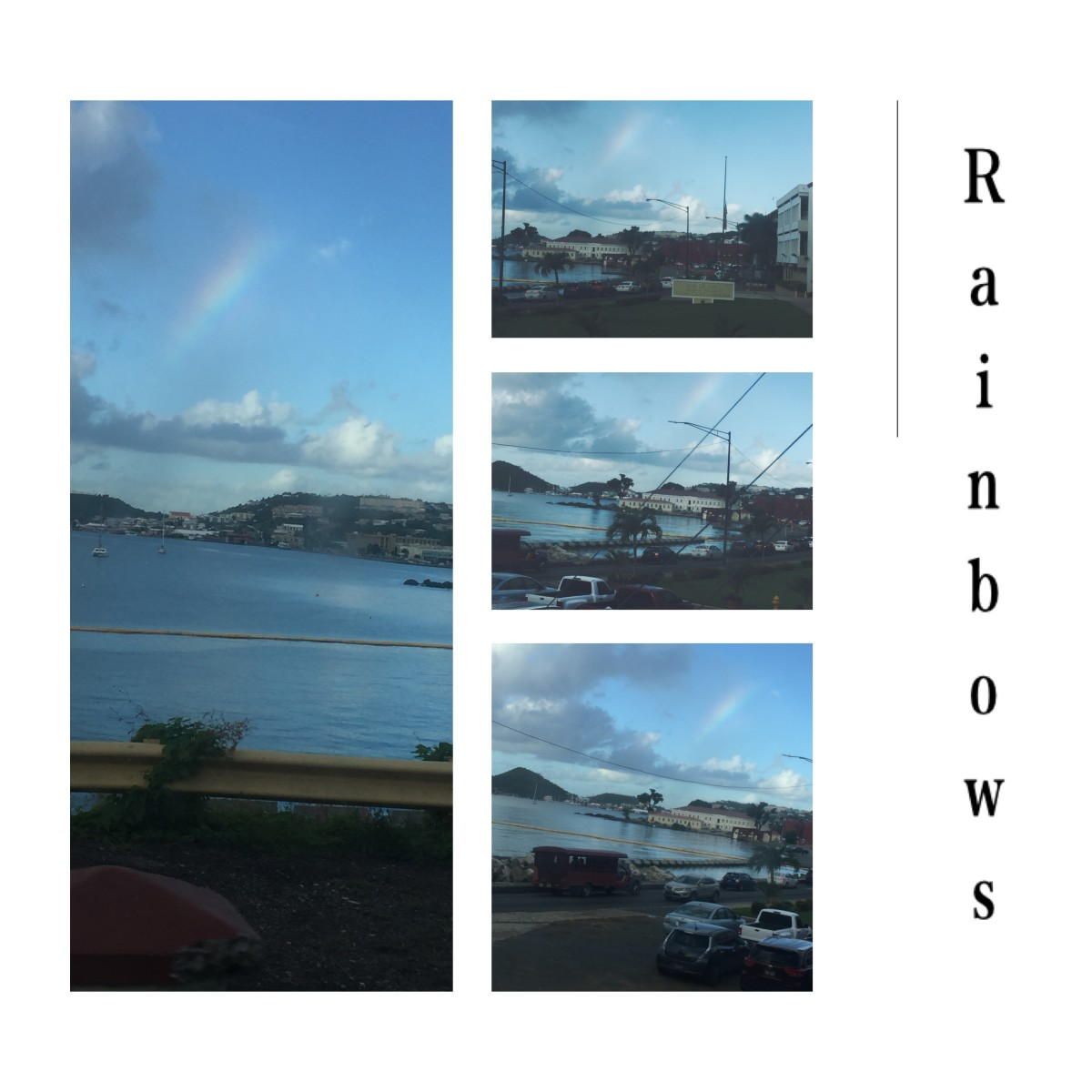 December 11, 2018 @ 7:59am. Captured rainbow driving on De Beltjen Rd. Short cut hill behind the court house. over lookinf the waterfront.