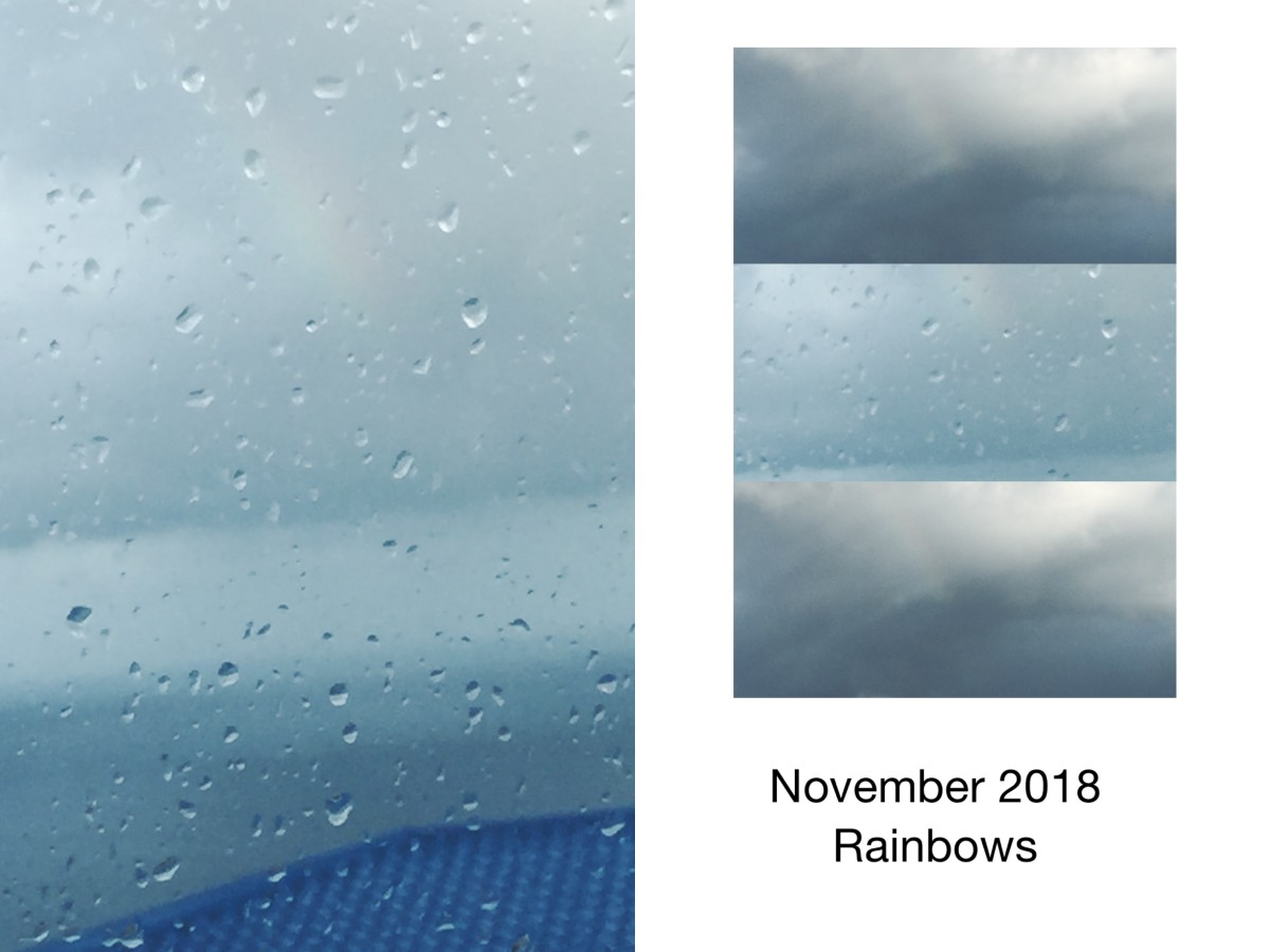 November 15, 2018 @ 7:28am, captured over looking Bourduex, westward at Puerto Rico. It was pouring rain and still a small reflection of the sun has given a spectrum rainbow in the gray clouds. WOW.
