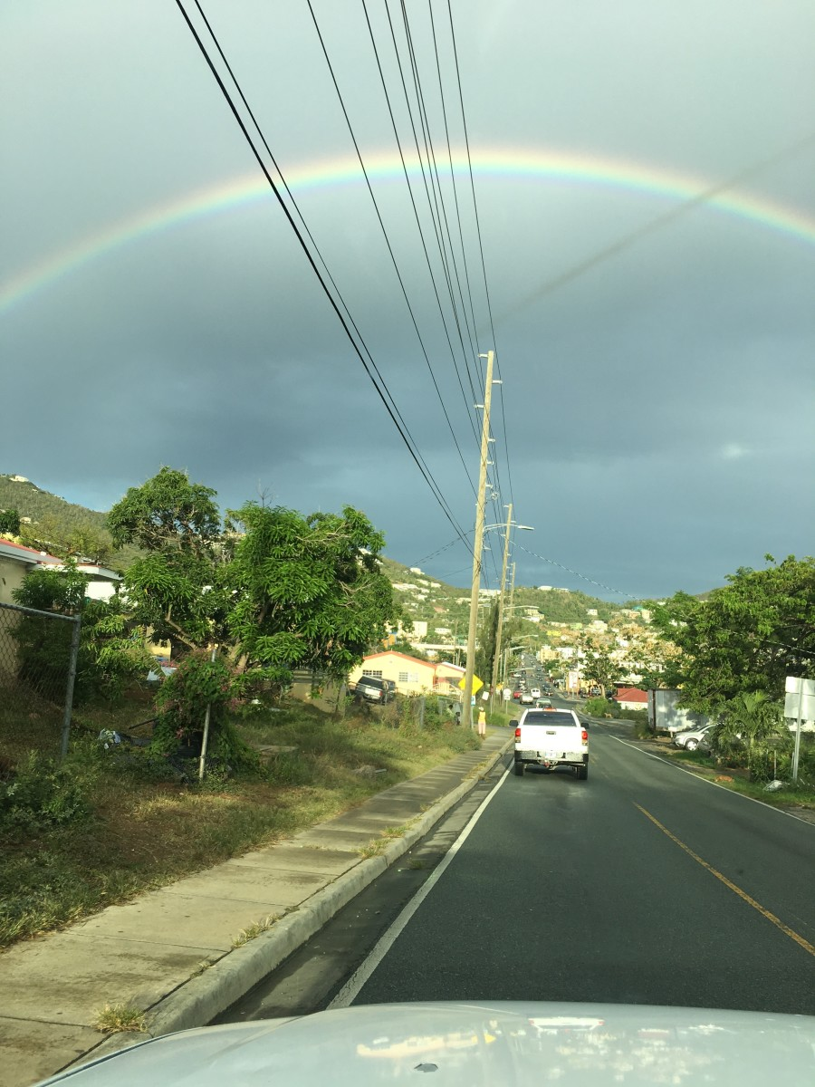 Photo Shoot by Stanley Griffin on May 17, 2018 @ 1:21pm over Charlotte Amalie High School road heading to the hospital. Shayla Accident next day rainbow.
