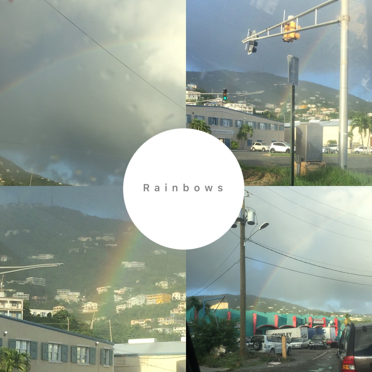 December 7, 2018 @ 4:57pm. Video Clip of rainbow driving on waterfront. I'm following a rainbow. The rainbow overlooked alot of businesses druing the spectrum. See video