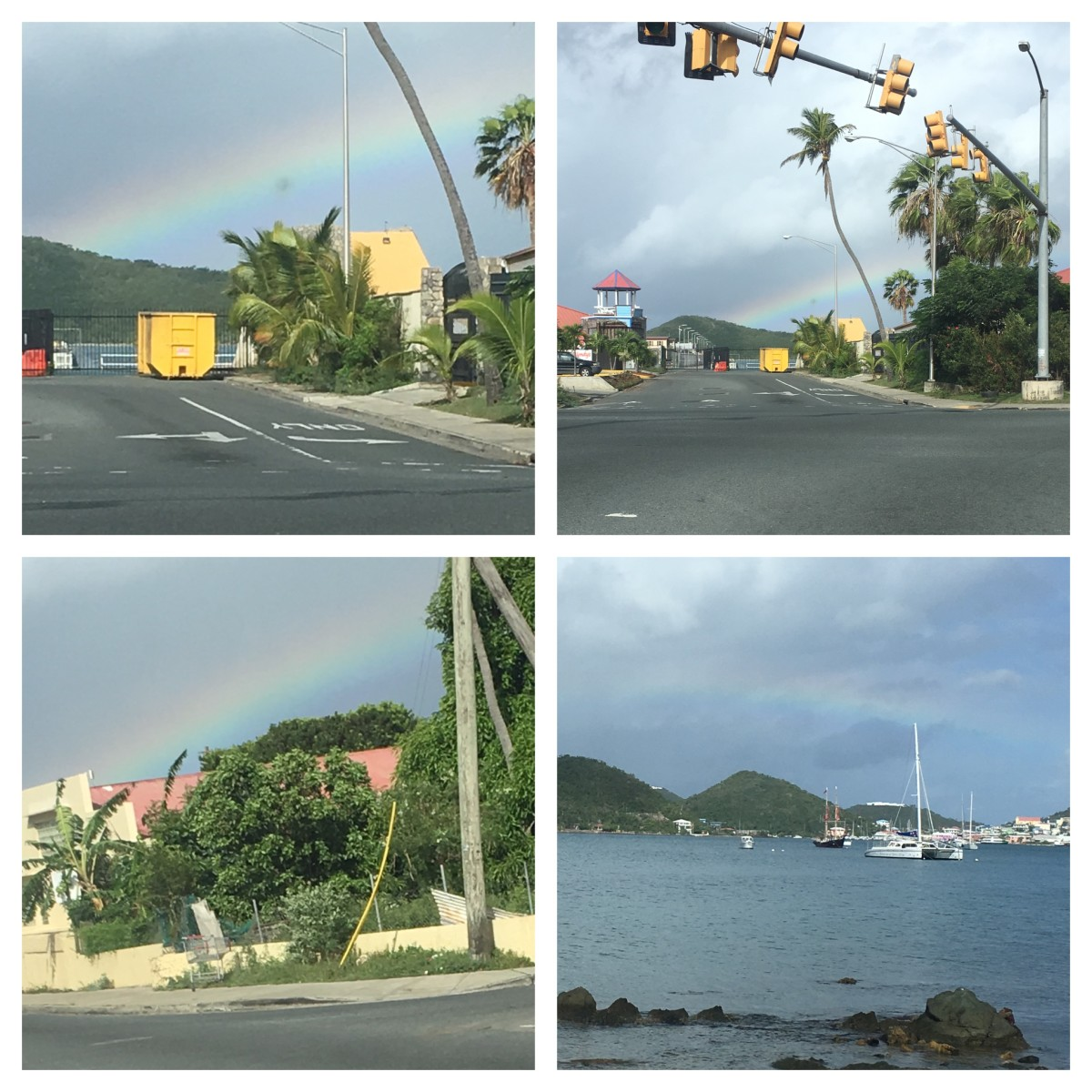 Phenomenal view of a rainbow. Captivated on July 19, 2018 by Photographer Stanley Griffin. Looking over Havensight.  At the stop light by Wendy's, driving westward on water front the rainbow illusion continues over Water Island.