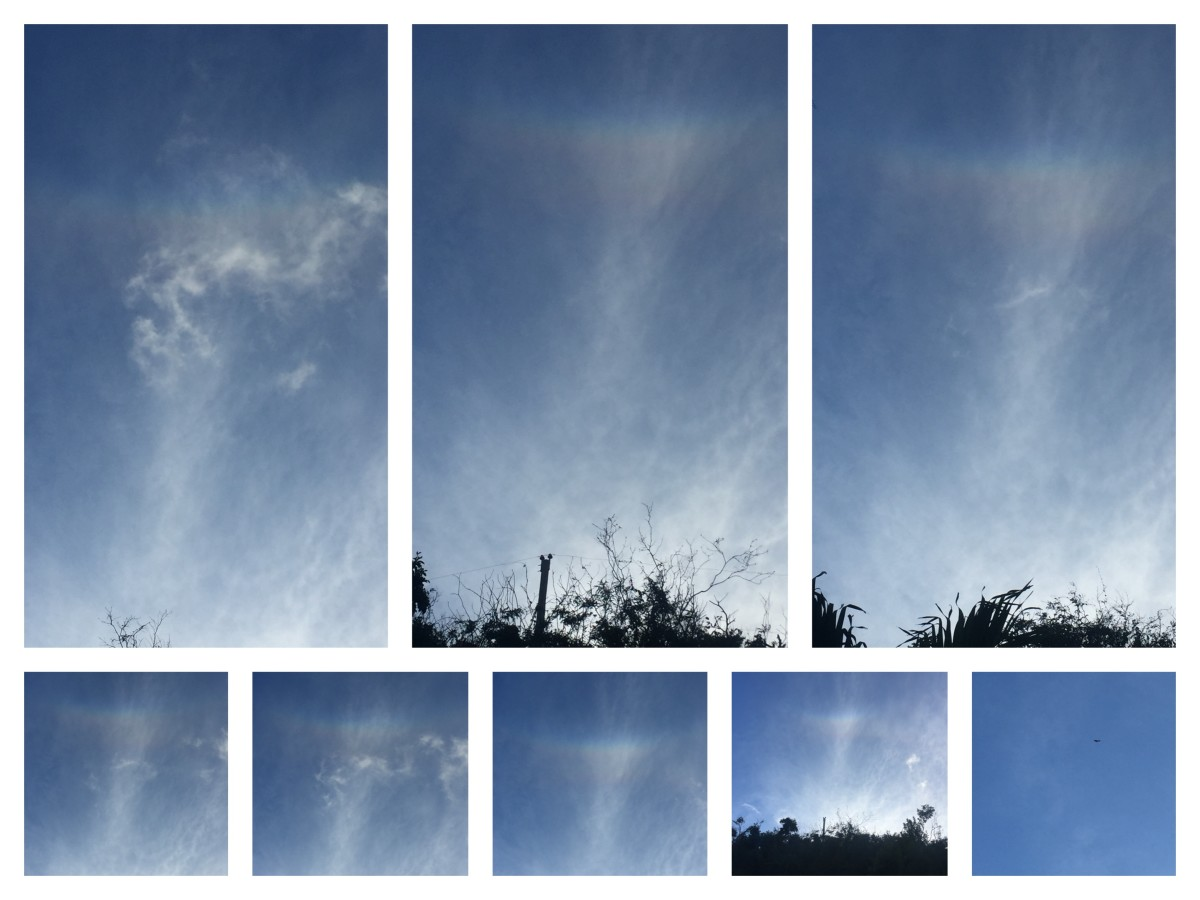March 26, 2018 @ 5:38pm. The spectrum on this day kept its shine. I arrived home. Amazed by my findings of Rainbows fractions and angles. I look up in the angle from my driveway and look the Rainbow continues in an 60 angle.