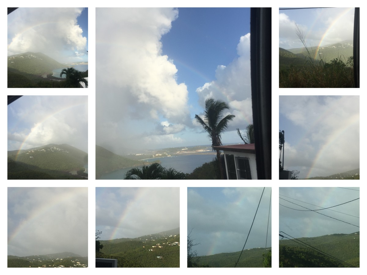Captured rainbow August 13, 2018 @ 5:41pm St. Thomas USVI Over the Santa Maria Location Mountain View, covering over the University and the Airport, over Brewers Bay Beach.