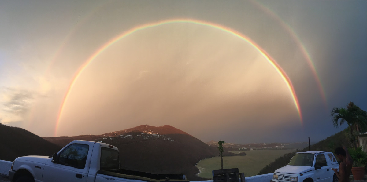 This caption was taken 8 days after a category 5 hurricane that hit the United States Virgin Islands St. Thomas. Hurricane Irma that was known to be the strongest wind speed at 260mph. Then phenomenally a rainbow appeared. Snap rrrrr.😁