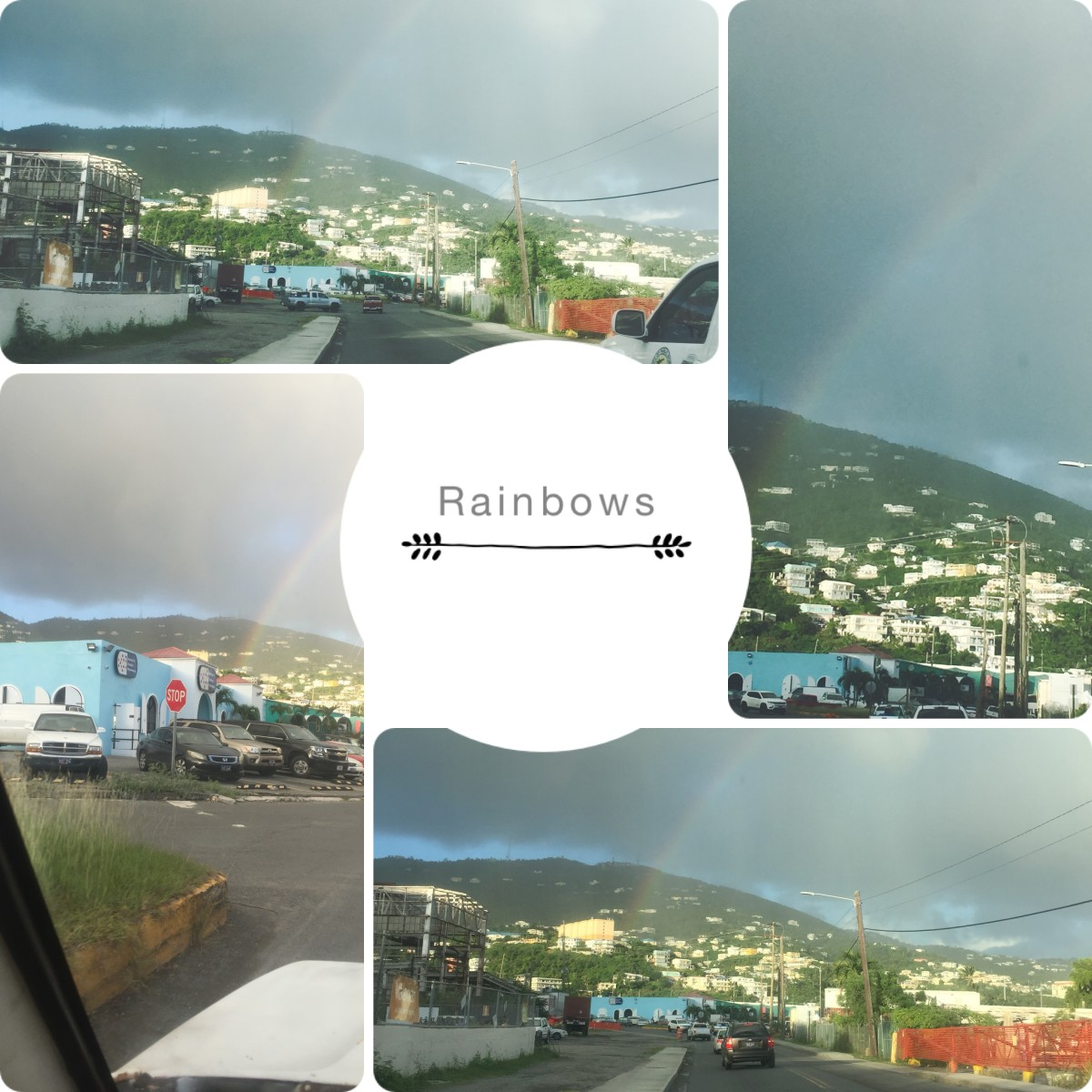 December 7, 2018 @ 4:56pm. Captured rainbow driving on crown bay road going on East 30 on waterfront. See video.