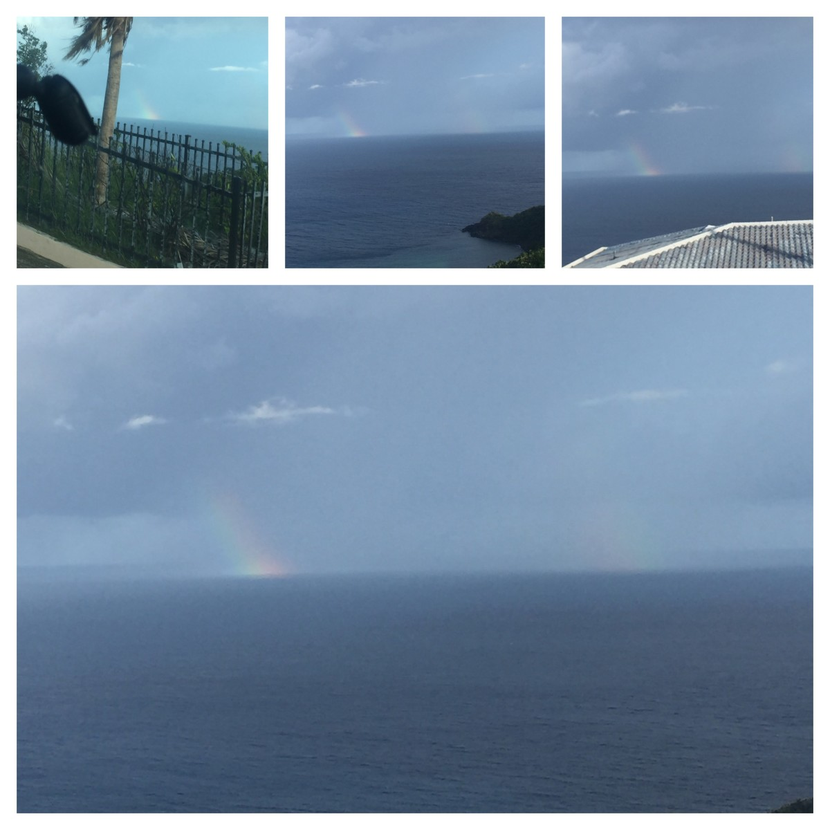 November 5, 2017 @ 8:30am viewing westward of St. Thomas. In the distance is Puerto Rico. A splash of rainbows in the ocean. Great!