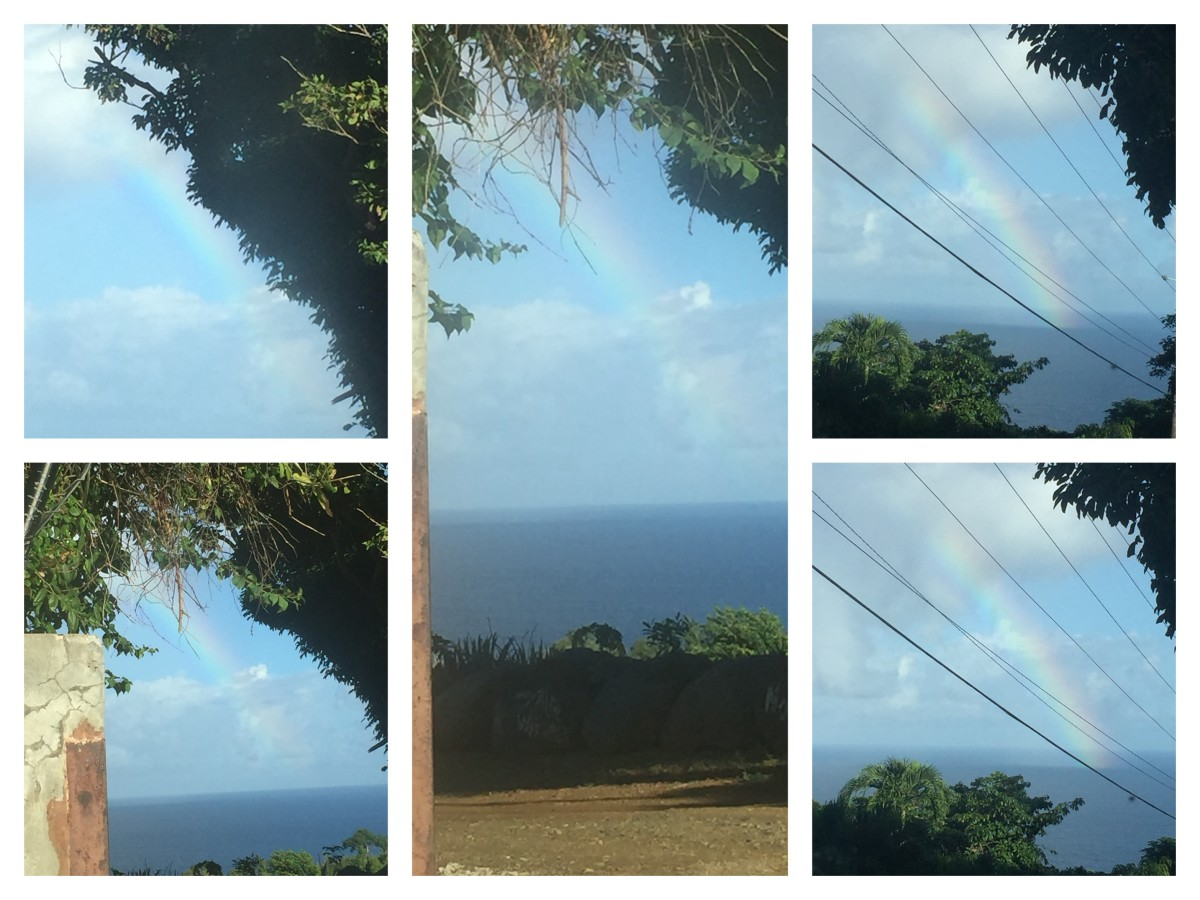 Wow, October 22, 2018 @ 7:38am West side between the islands of St. Thomas and Puerto Rico. I got a glimpse between a road pathway. Check out the blues in this rainbow.