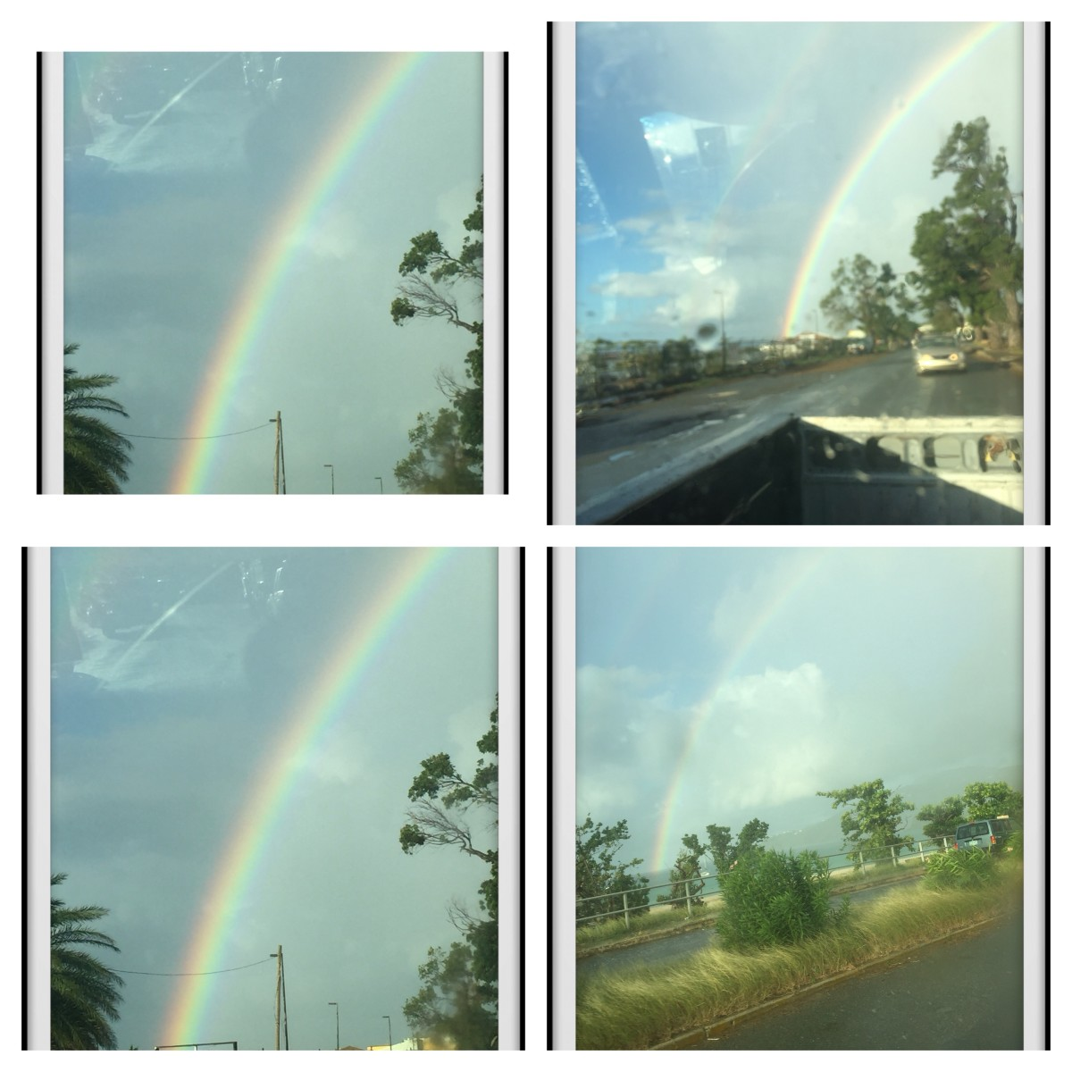 December 21, 2017 @ 7:27am Sunday. Notice the Rainbow driving looking back in the reaview Mirror. Nice.