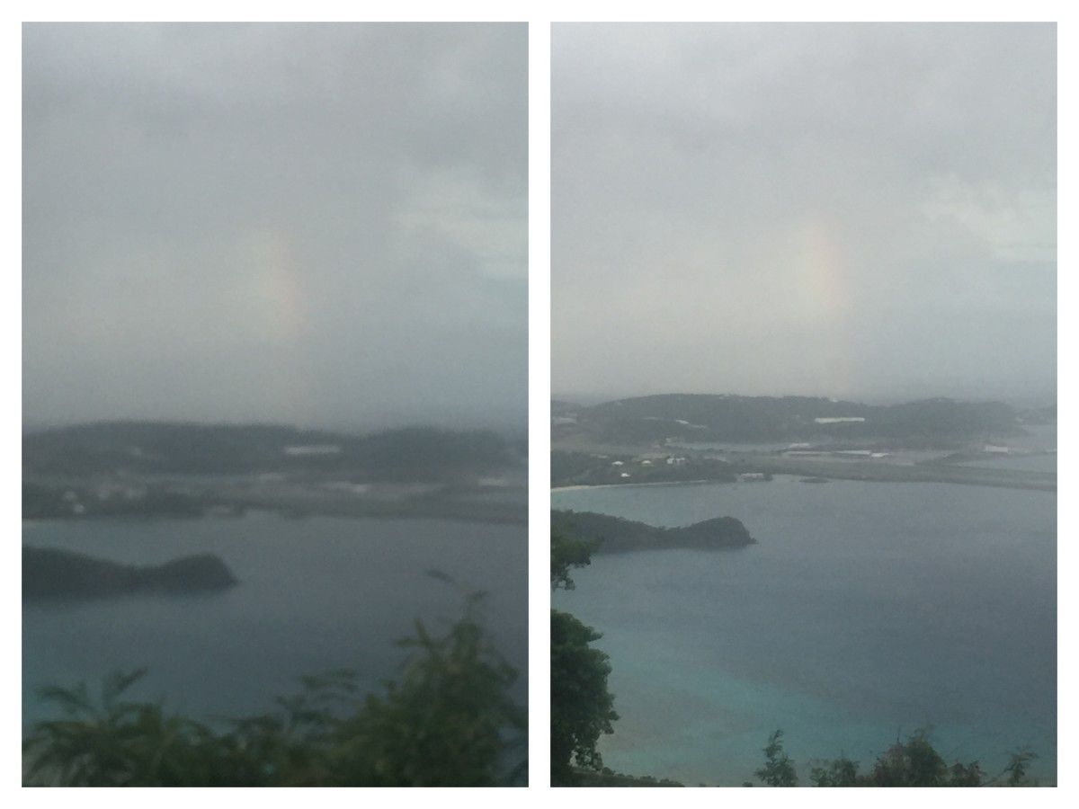 Captured a rainbow in the haze, barely seen but it's there in the haze. Amazing, it was raining on top the mountain, the sun was setting and the drizzle at the distance gave a spectrum. I saw it, now it's my collection. October 8, 2018@5:38pm Monday