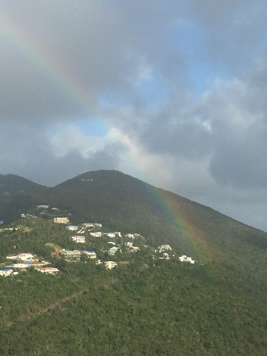 January 28, 2018 @ 4:43pm. A Rainbow captured by Stanley P. Griffin over looking Santa Maria Hill