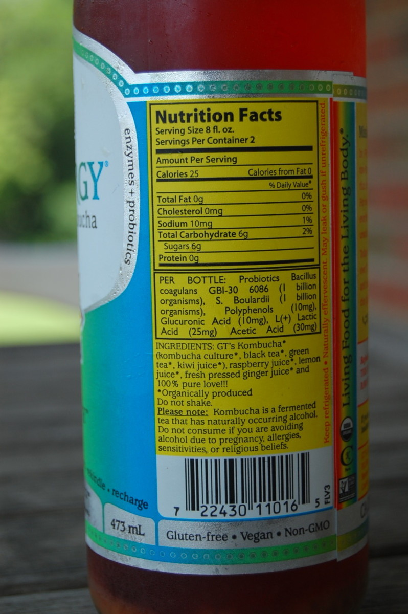 Nutritional information on the bottle.