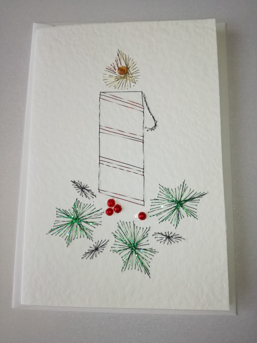 Completed paper embroidery card