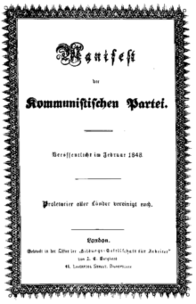 This is a facsimile of the German edition of the Communist Manifesto.