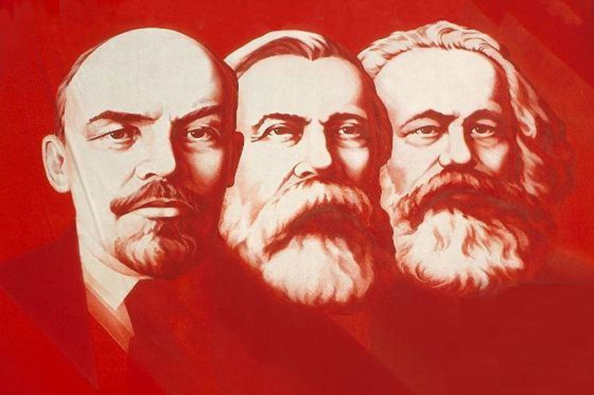This is a picture of Lenin, Engels and Marx as depicted in an early Soviet Union poster.
