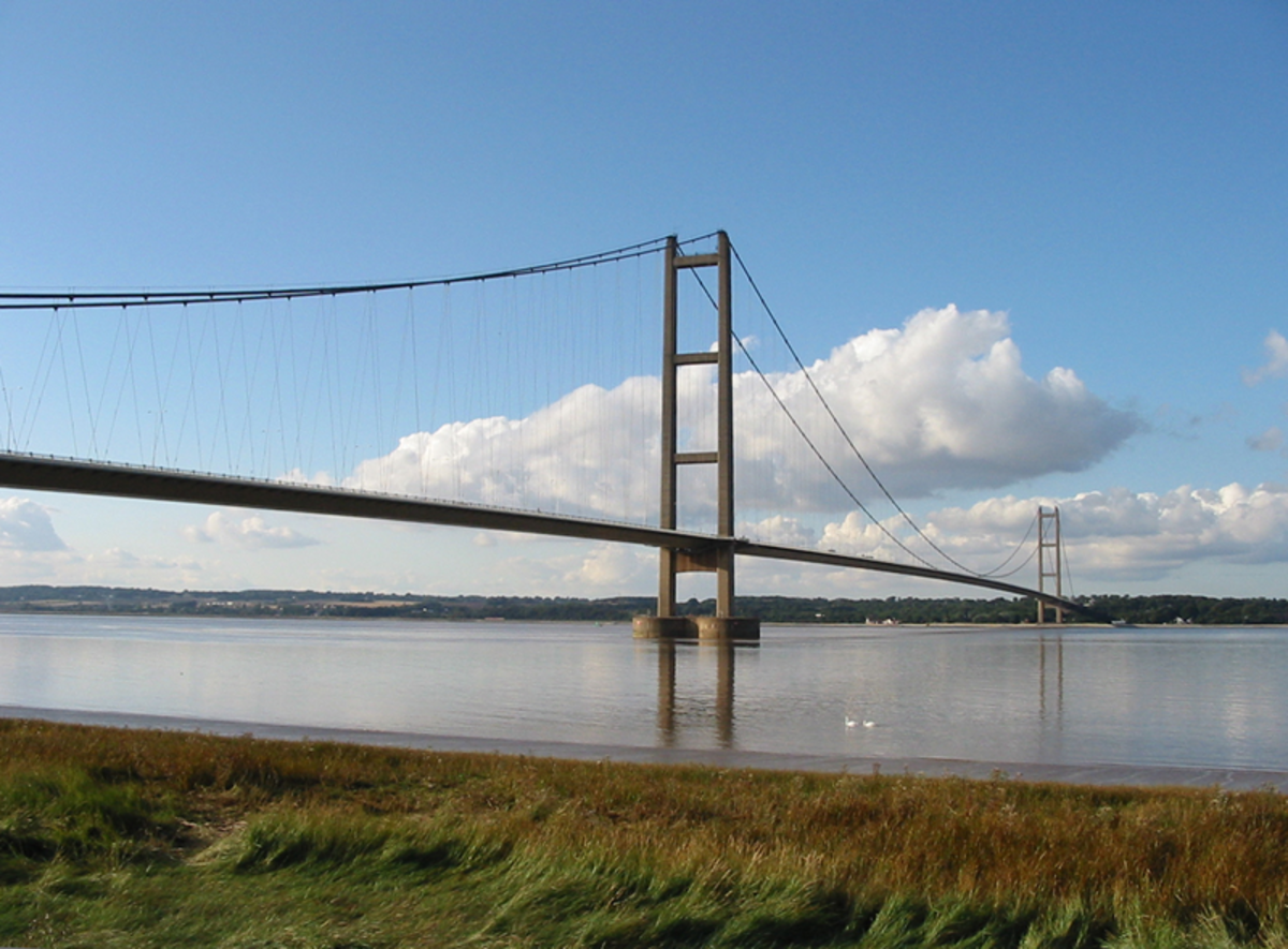 The Humber Bridge links East Yorkshire with North Lincolnshire, it is thought that it isbuilt along the route of the old Roman Ferry.