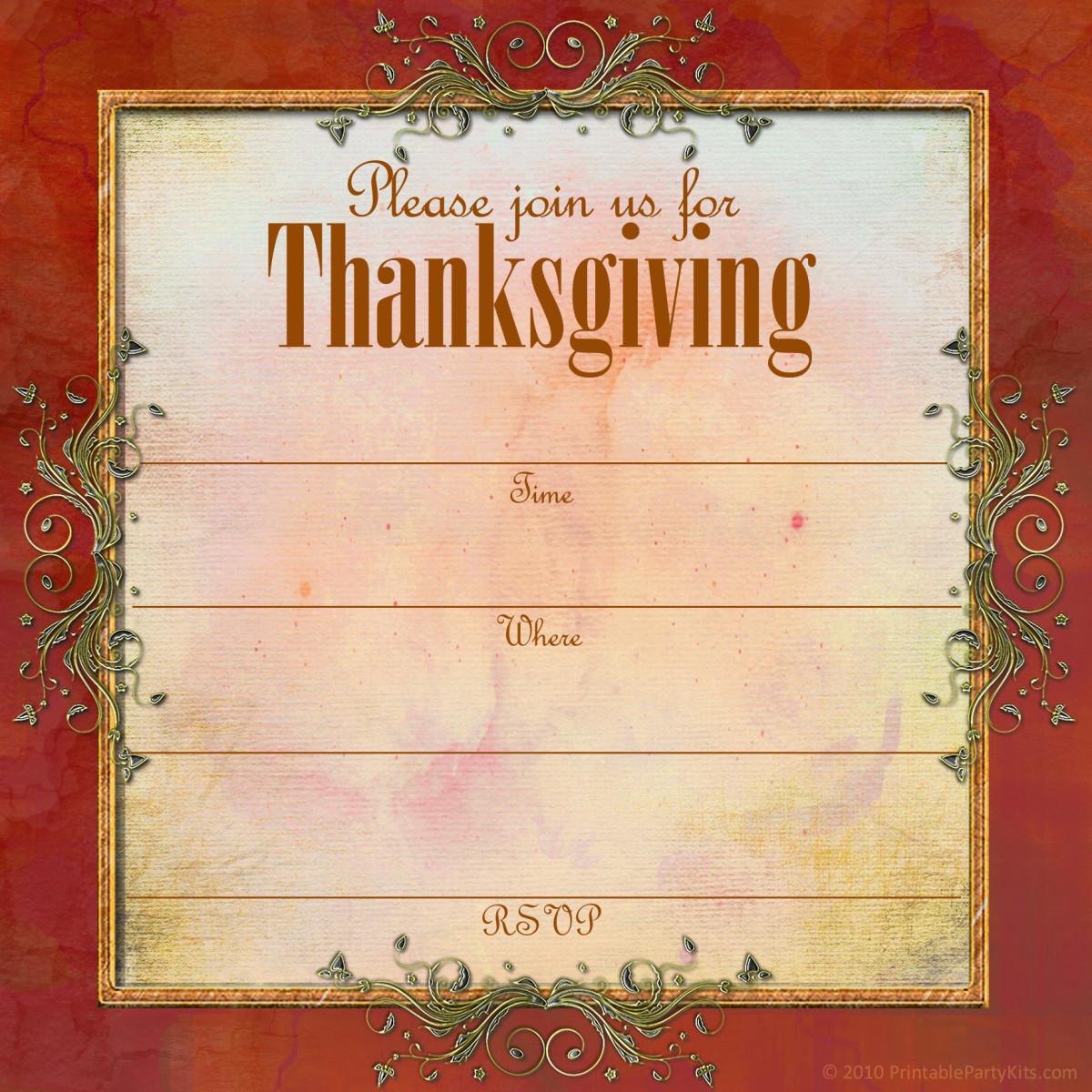 Ornate filigree Thanksgiving invitation template