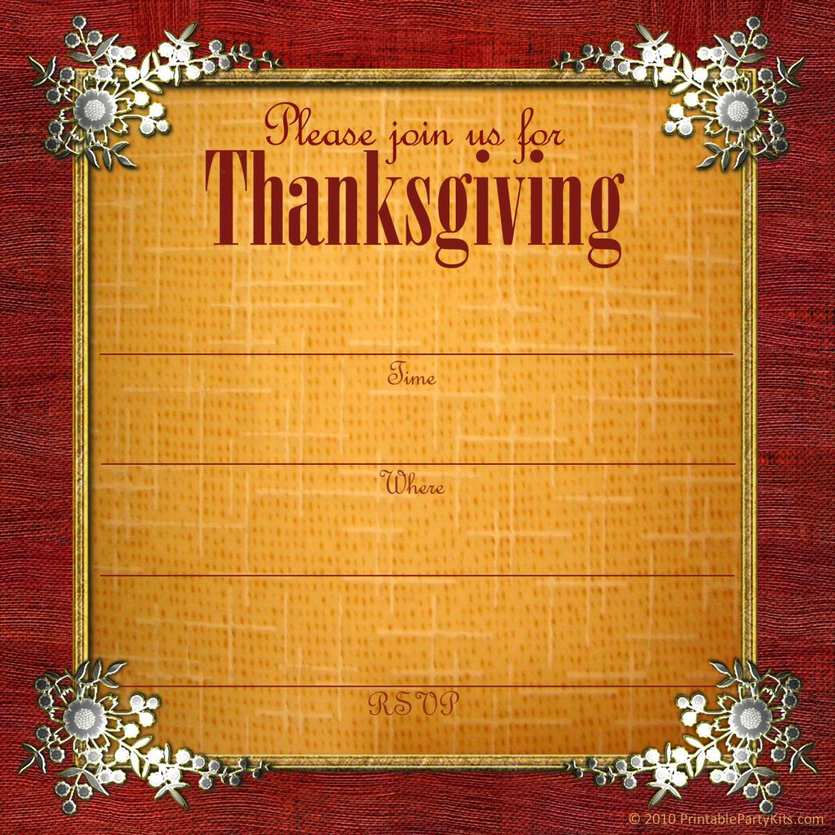 Sterling silver embellishments digital Thanksgiving invitation