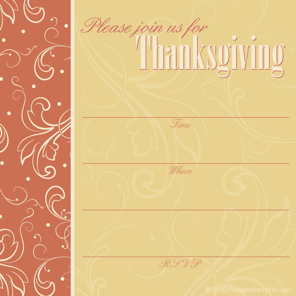 Pumpkin spice Thanksgiving invitation