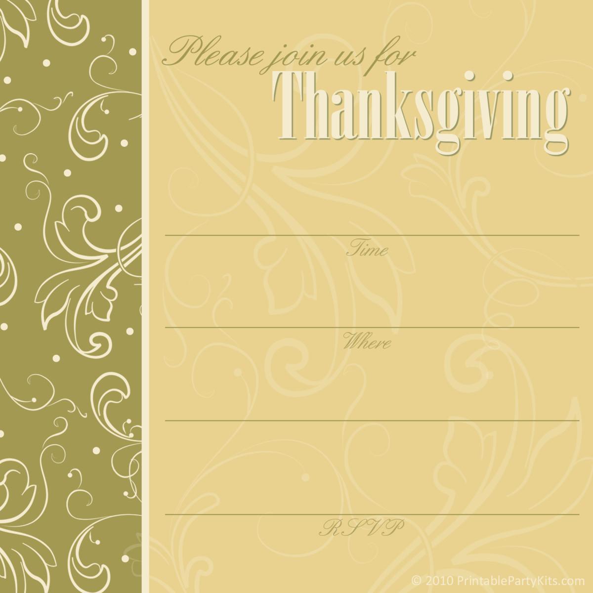 Pistachio cream Thanksgiving dinner invitation