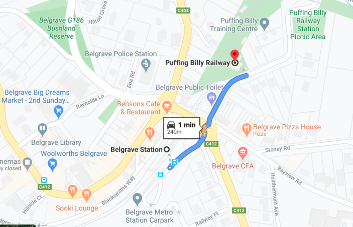 Walking distance from Belgrave to Puffing Billy Station