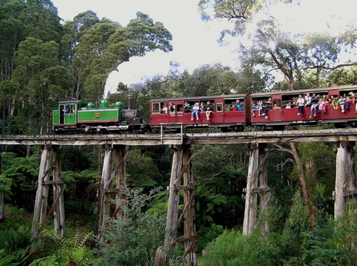 Train passing over wooden bridge