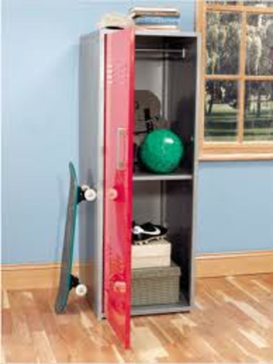 A metal storage locker gives an industrial or sporty look.
