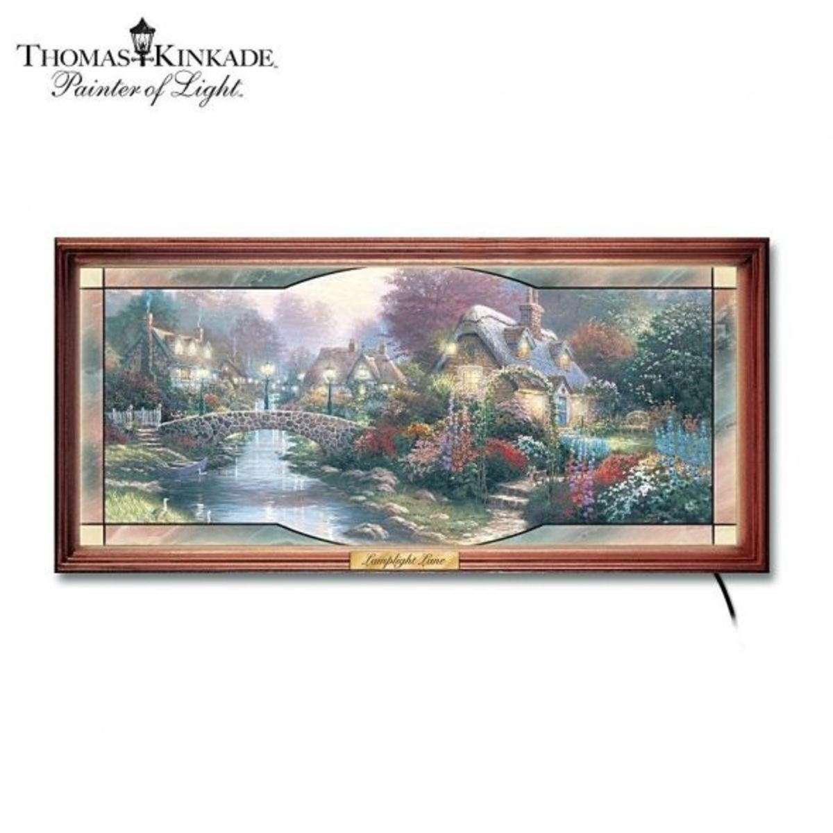 Another Kinkade garden has been designed for this stained glass frame for the home décor.