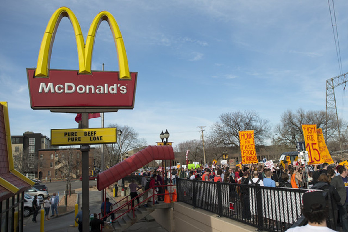 Crew on strike for a $15.00/hour minimum wage in Minnesota in 2015. Is $15.00 too high, too  low, or about right?
