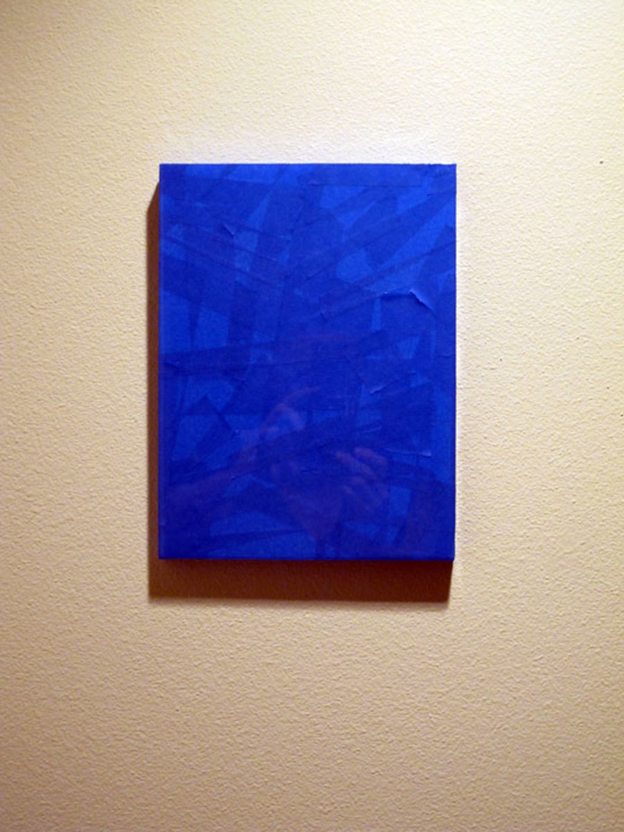 "Small Window (After Klein) - painter's tape on panel, 12x9"" - from failed/fixed series"