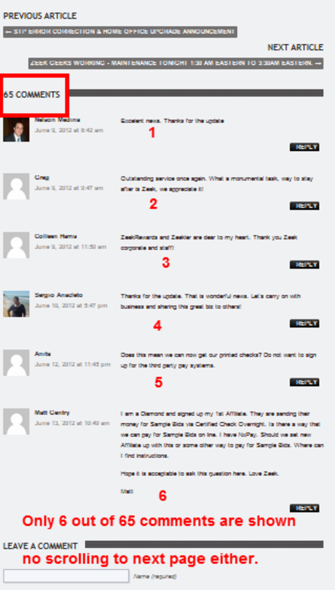 ZeekrewardsNews -- banking issues topic... out of 65 comments, only 6 are shown. Where are the rest of them?