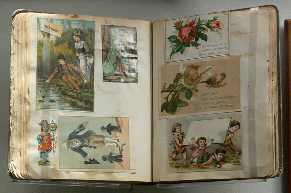 A vintage scrapbook from the late 19th / early 20th century, currently held in the Women's Museum in Dallas, Texas.