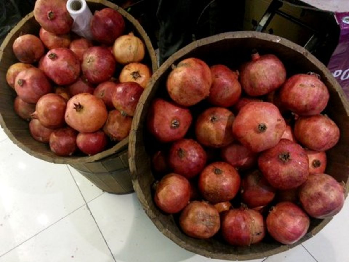 Pomegranate fruits waiting to be juiced, at a shop in Kuala Lumpur, Malaysia