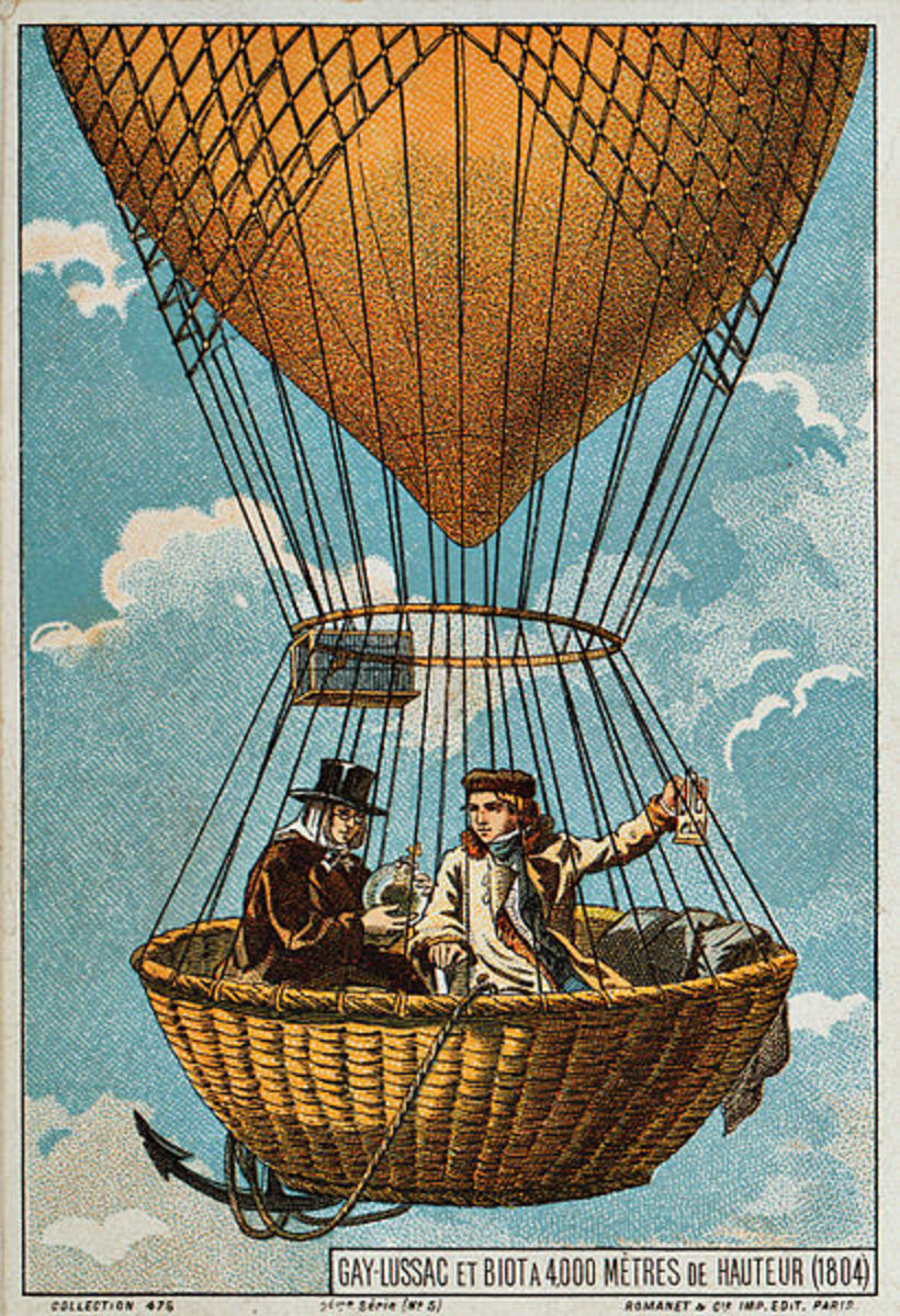 Artist's conception of the Gay-Lussac balloon flight of 1804.