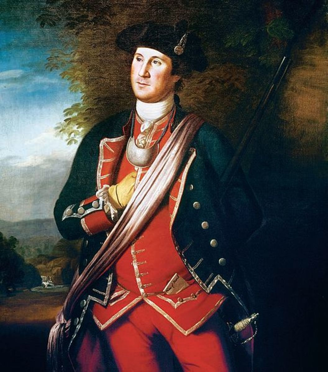 Washington as a redcoat.  Charles Wilson Peale painted him in his French and Indian War uniform in 1772.