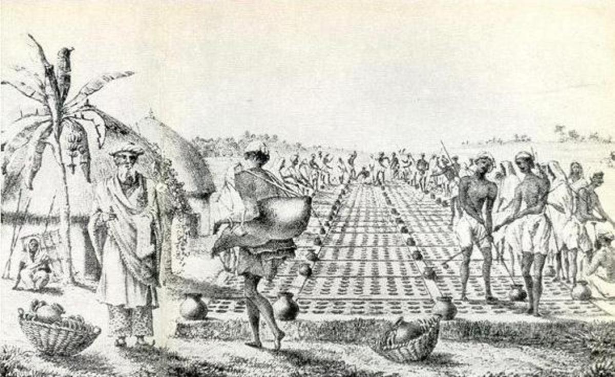 Ice-making in 18th-century India, from an old engraving.