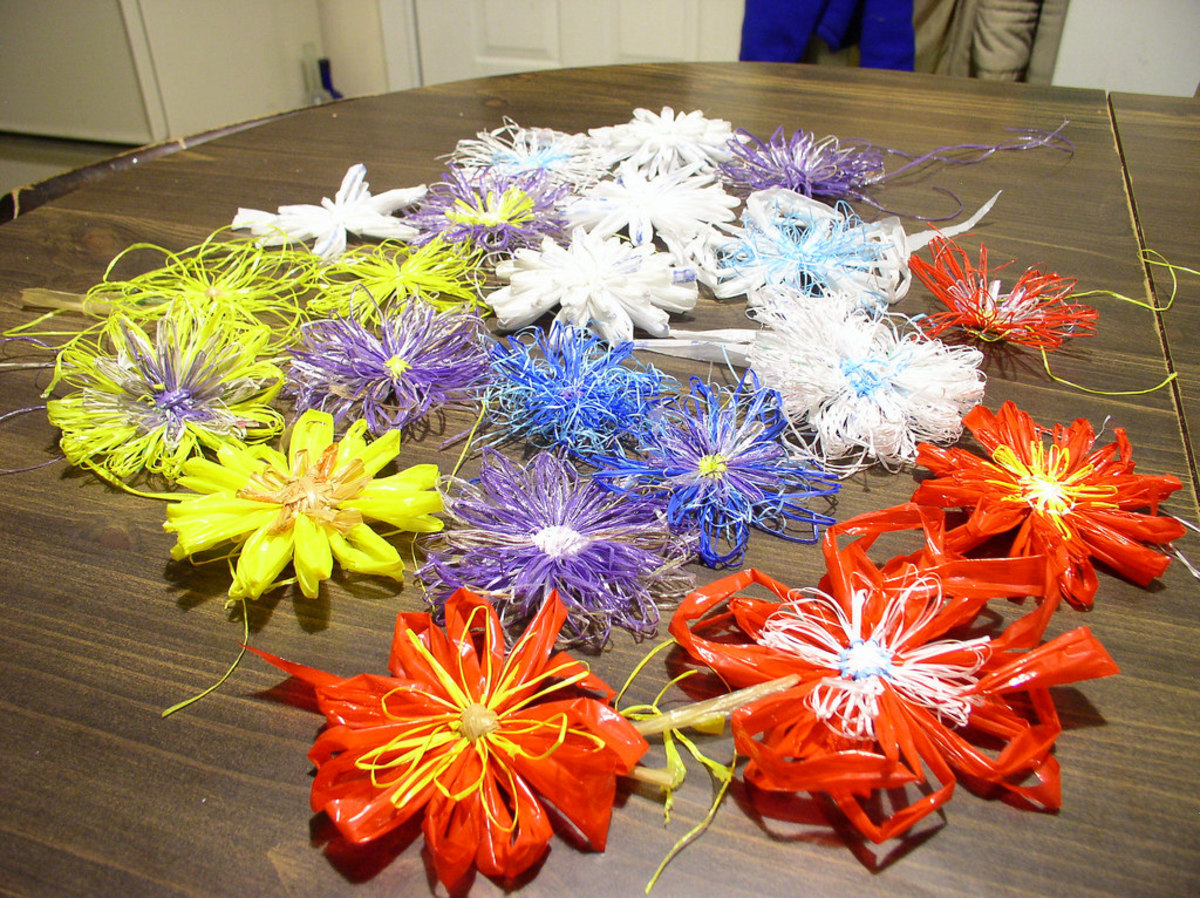 Crafts made from plarn (made from plastic bags).