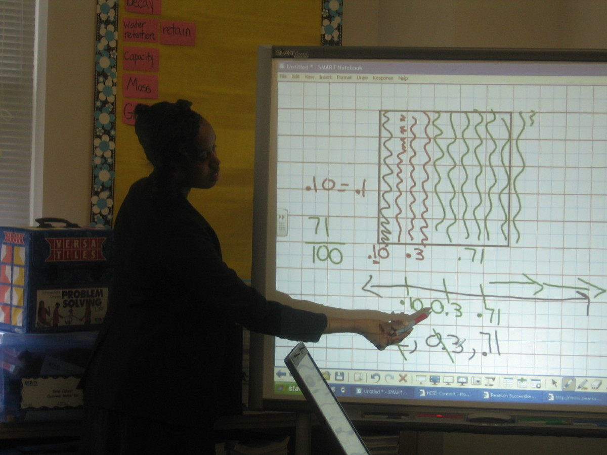 Here using a Smartboard in the classroom I show students how making a 10X10 grid can help with understanding fractions.