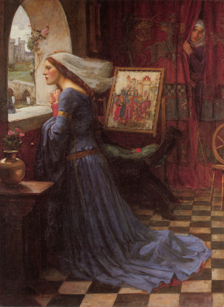 Fair Rosamund as portrayed by John William Waterhouse, an artist deeply influenced by the Pre-Raphaelite Brotherhood.