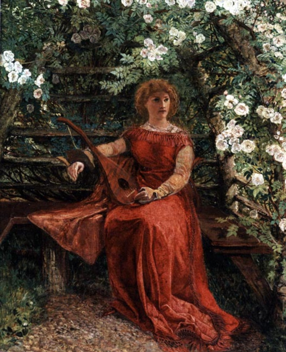 A less glamourous interpretation of Rosamund in her bower by William Bell Scott