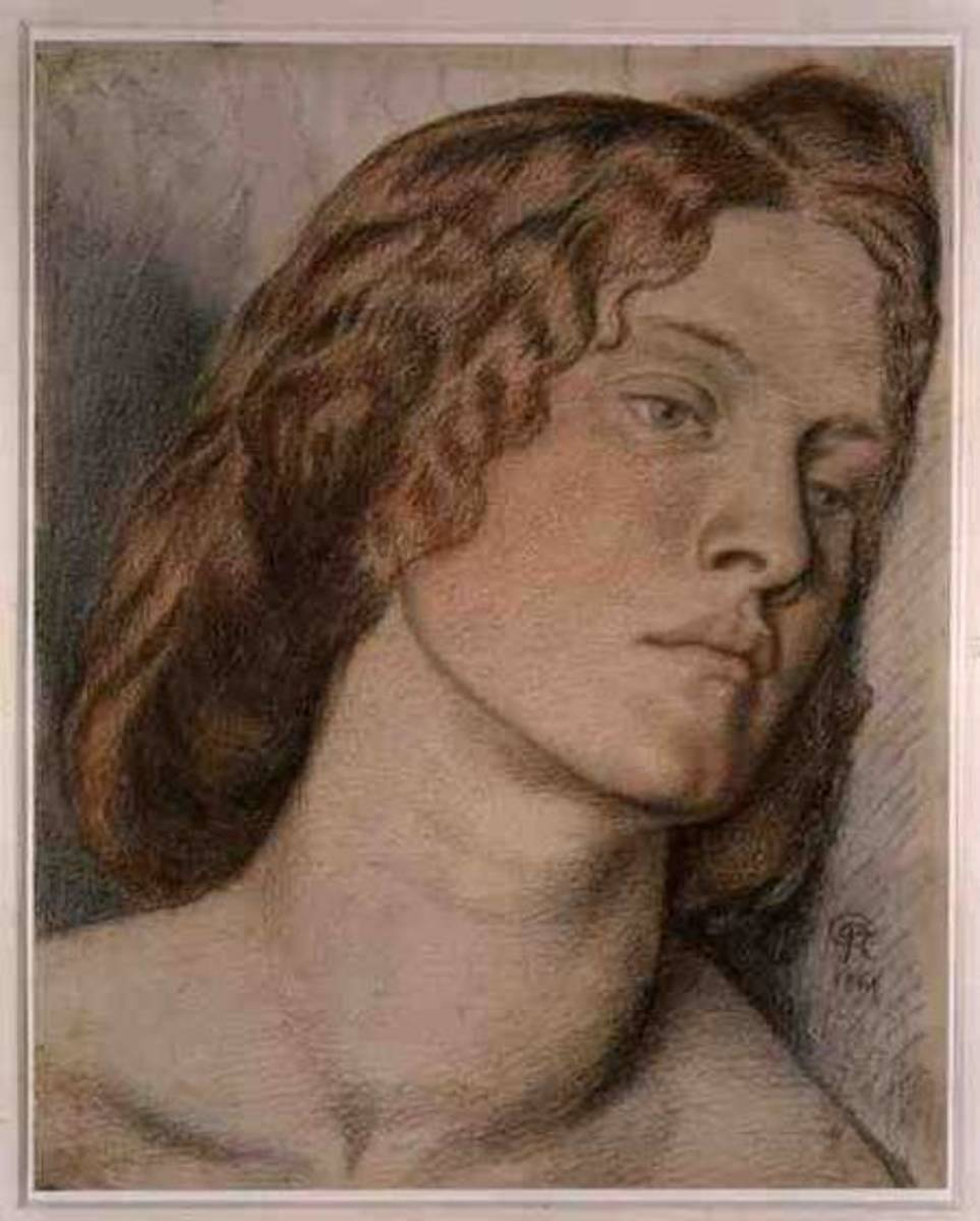 An initial study of Fanny Cornforth by Dante Gabriel Rossetti for his painting of Fair Rosamund.