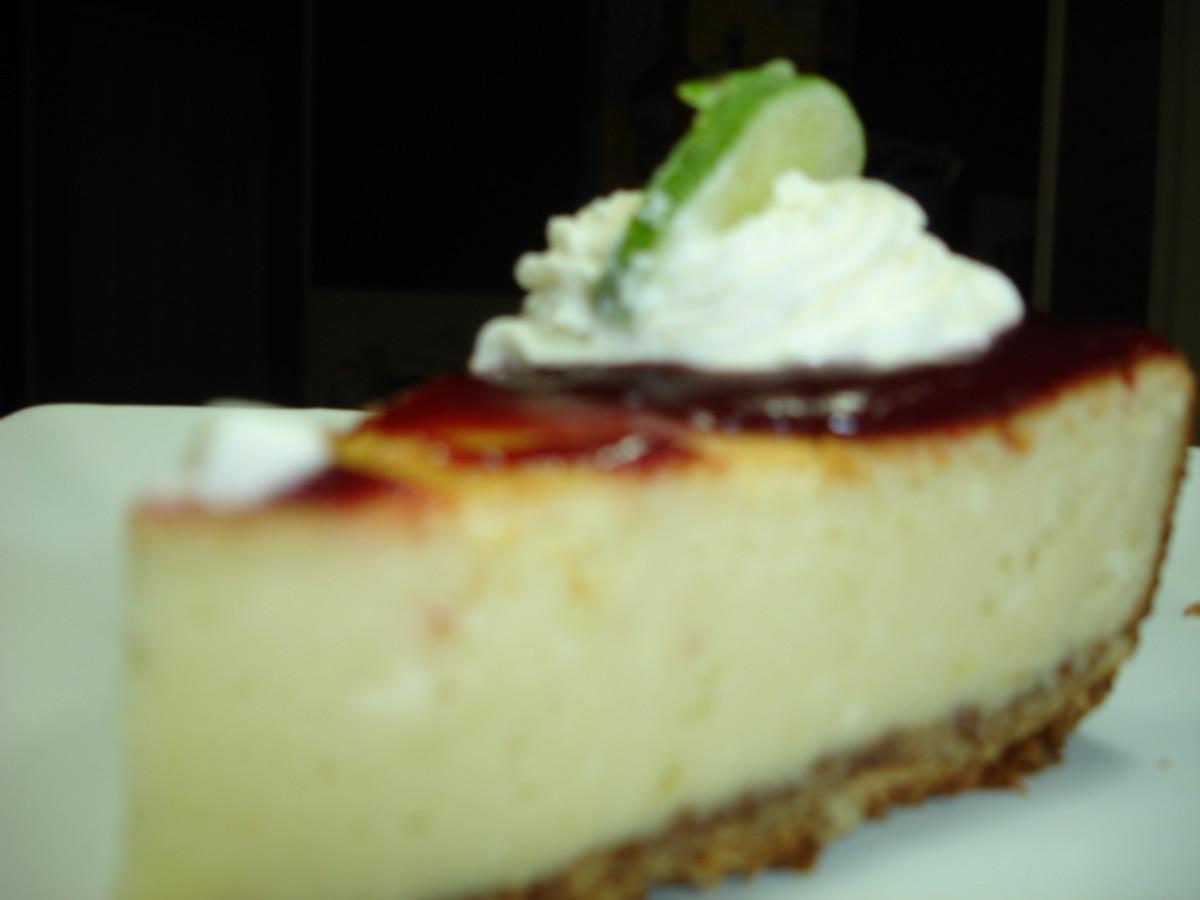 Pappadeaux Key lime pie with raspberry sauce