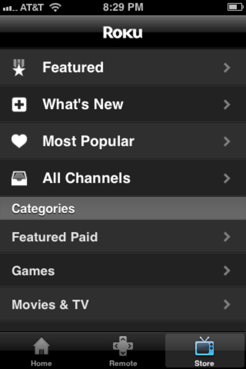 The app offers a Store app where you can search for new channels.