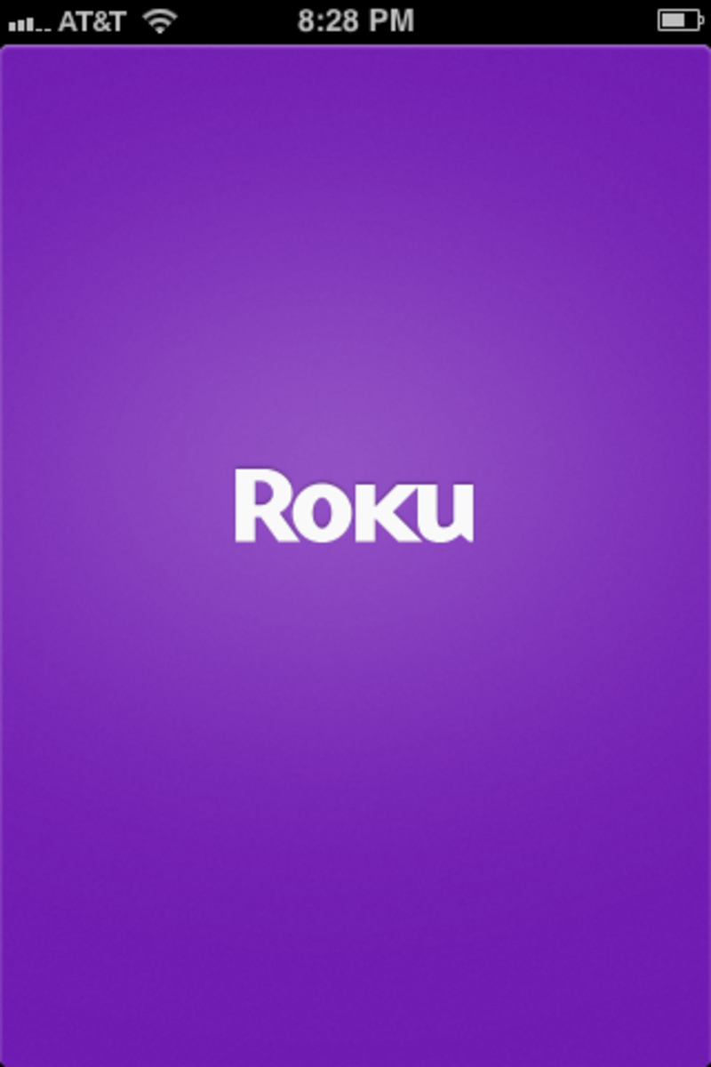 The Roku app's opening screen.