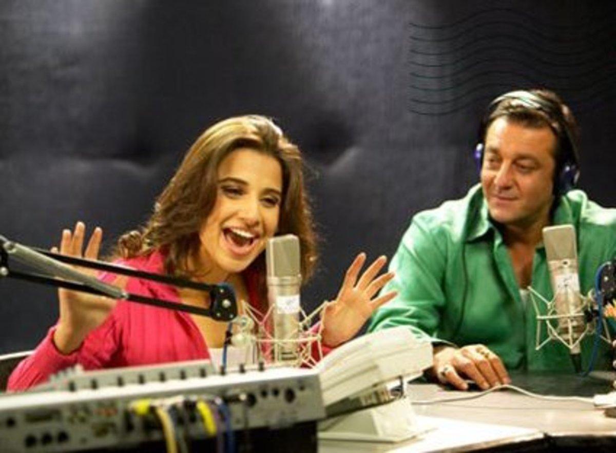 Vidya Balan and Sanjay Dutt in Lage Raho Munna Bhai.