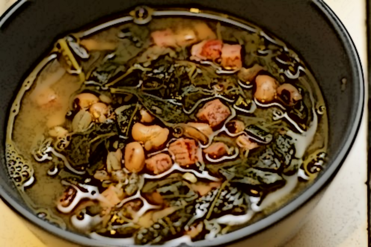 Collard-green soup, with navy beans and ham.