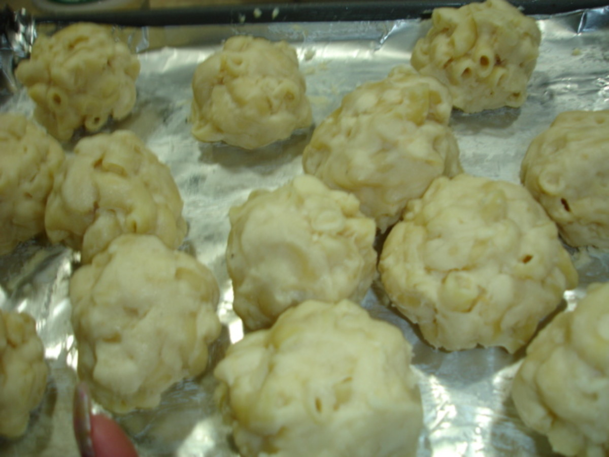 Cheese balls before coating with breadcrumbs.